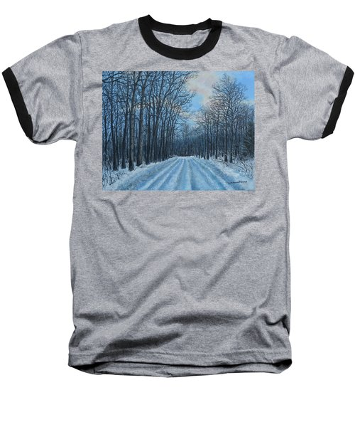 Winter Road To The Gas Well Baseball T-Shirt by Kathleen McDermott