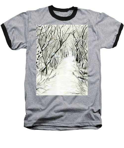 Baseball T-Shirt featuring the painting Winter Scene by Nadine Dennis