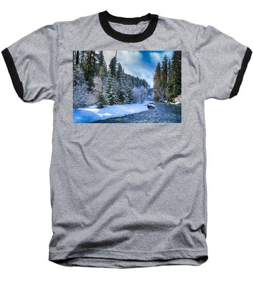 Winter Scene On The River Baseball T-Shirt