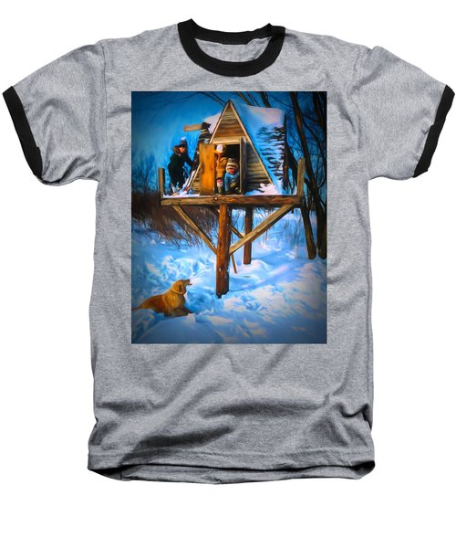 Winter Scene Three Kids And Dog Playing In A Treehouse Baseball T-Shirt