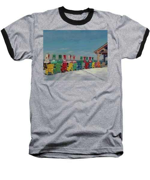 Baseball T-Shirt featuring the painting Winter Sentries by Lynne Reichhart