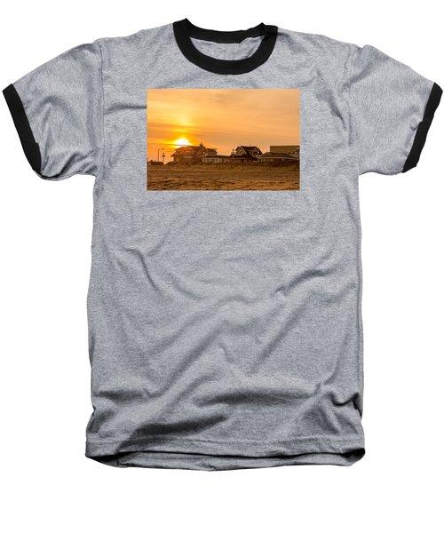 Winter Shore Sunset Baseball T-Shirt