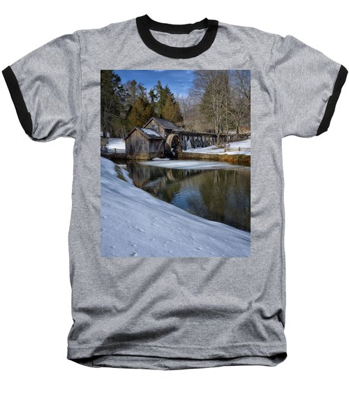 Winter Snow At Mabry Mill Baseball T-Shirt