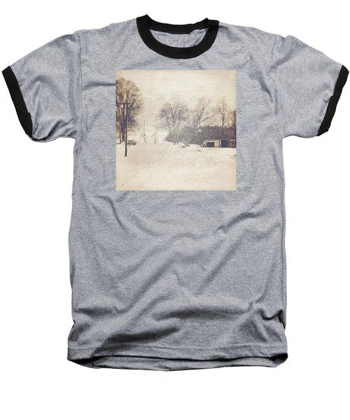 Winter Snow Storm At The Farm Baseball T-Shirt