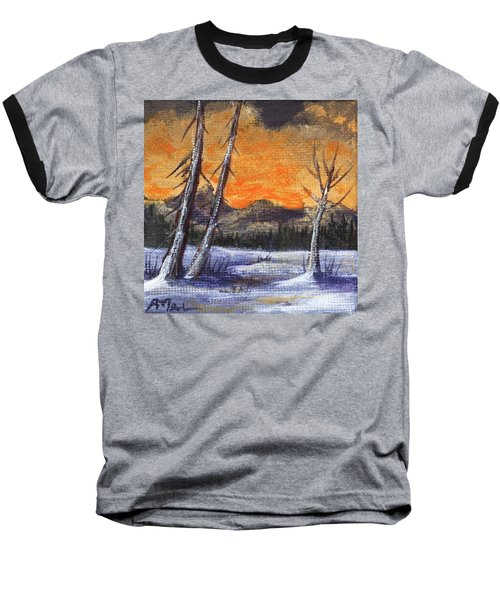 Baseball T-Shirt featuring the painting Winter Solitude #1 by Anastasiya Malakhova
