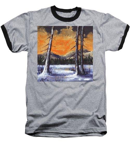Baseball T-Shirt featuring the painting Winter Solitude #2 by Anastasiya Malakhova