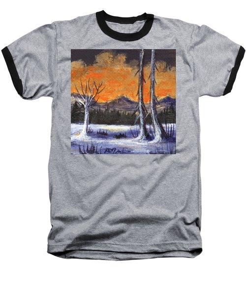 Baseball T-Shirt featuring the painting Winter Solitude #3 by Anastasiya Malakhova