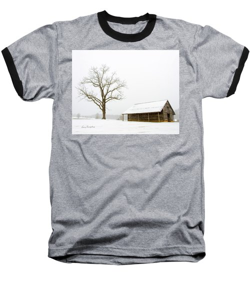 Winter Storm On The Farm Baseball T-Shirt by George Randy Bass