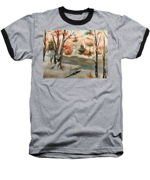Baseball T-Shirt featuring the painting Winter Stream by Roseann Gilmore