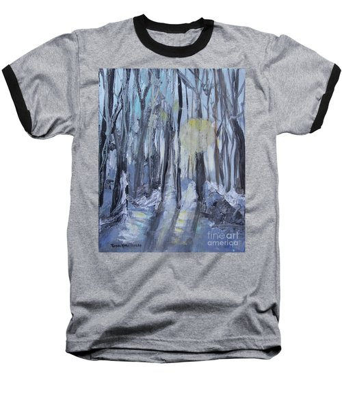 Baseball T-Shirt featuring the painting Winter Sun by Robin Maria Pedrero