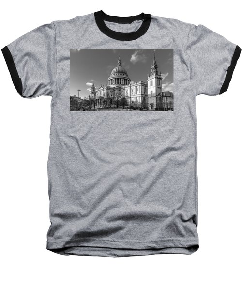 Winter Sun St Paul's Cathedral Bw Baseball T-Shirt