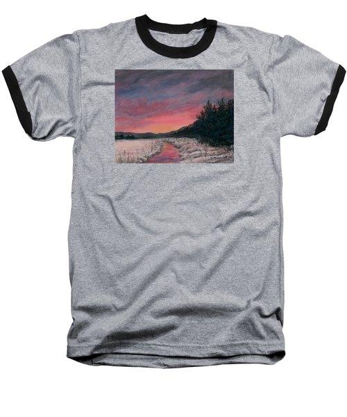 Baseball T-Shirt featuring the painting Winter Sundown by Kathleen McDermott