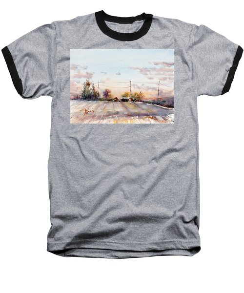 Winter Sunrise On The Lane Baseball T-Shirt by Judith Levins