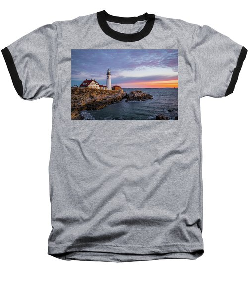 Winter Sunrise Over Portland Head Light Baseball T-Shirt