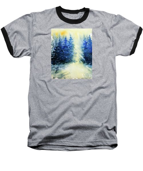 Winter Sunrise Baseball T-Shirt by Rebecca Davis