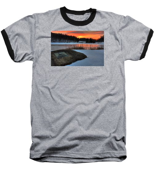 Winter Sunset Abbott Lake Baseball T-Shirt