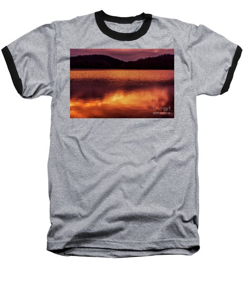 Winter Sunset Afterglow Reflection Baseball T-Shirt