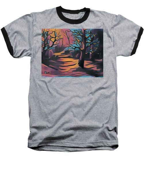 Winter Sunset Digital  Baseball T-Shirt
