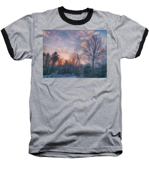 Winter Sunset In New England Baseball T-Shirt