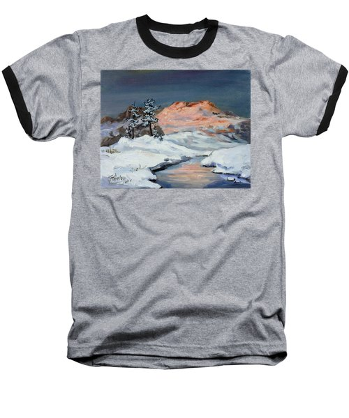 Winter Sunset In The Mountains Baseball T-Shirt