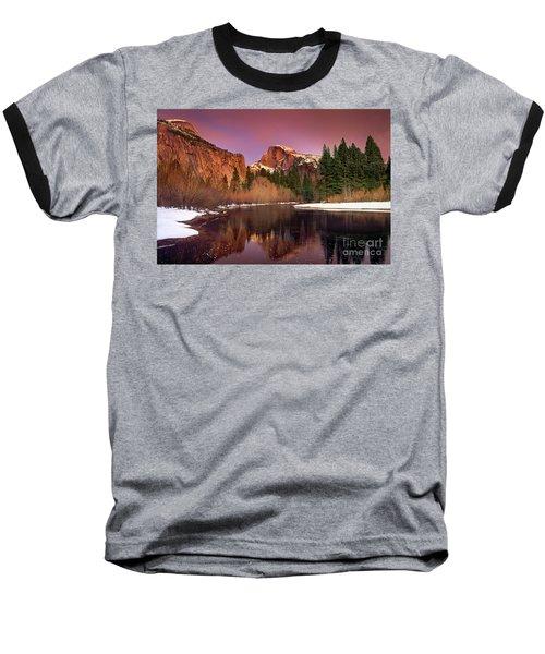 Winter Sunset Lights Up Half Dome Yosemite National Park Baseball T-Shirt