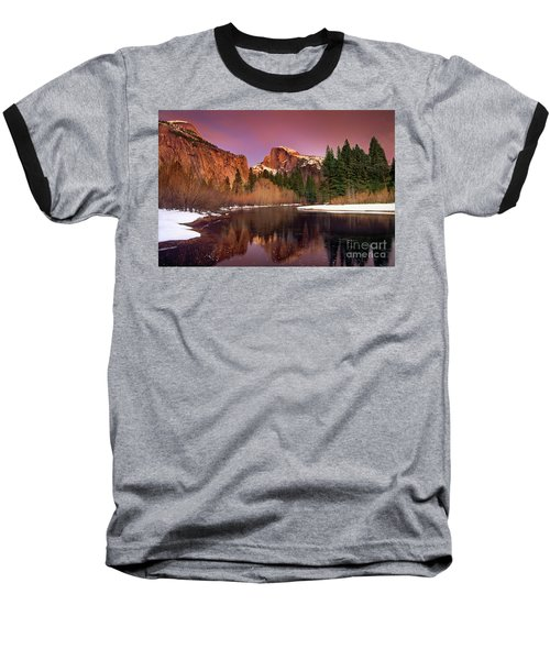 Baseball T-Shirt featuring the photograph Winter Sunset Lights Up Half Dome Yosemite National Park by Dave Welling