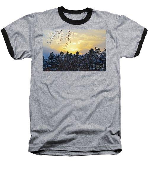 Winter Sunset On The Tree Farm #1 Baseball T-Shirt