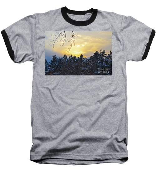 Winter Sunset On The Tree Farm #1 Baseball T-Shirt