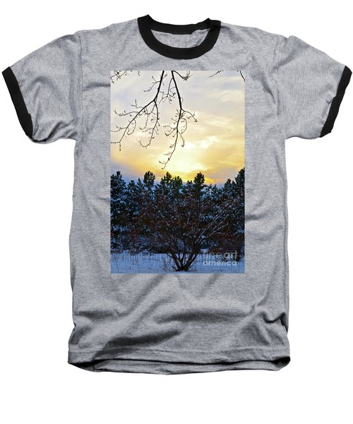 Winter Sunset On The Tree Farm #2 Baseball T-Shirt