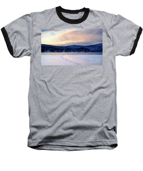 Winter Sunset On Wilson Lake In Wilton Me  -78091-78092 Baseball T-Shirt