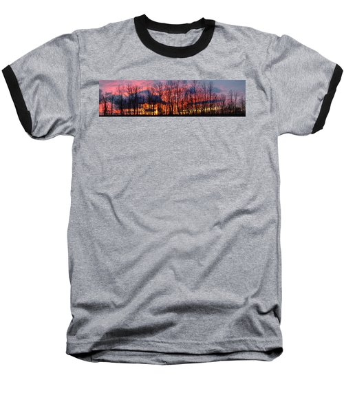 Baseball T-Shirt featuring the photograph Winter Sunset Panorama by Francesa Miller