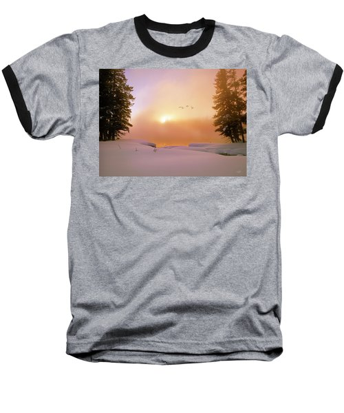 Baseball T-Shirt featuring the photograph Winter Swans by Leland D Howard