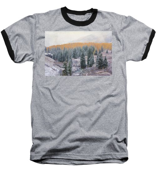 Baseball T-Shirt featuring the photograph Winter Touches The Mountain by Kristal Kraft