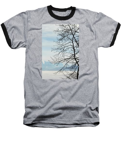 Winter Tree And Alps Mountains Upon The Fog Baseball T-Shirt by Elenarts - Elena Duvernay photo