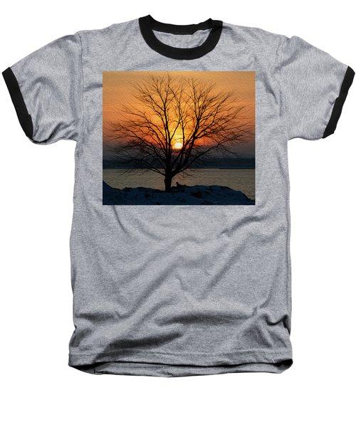 Winter Tree Sunrise Baseball T-Shirt