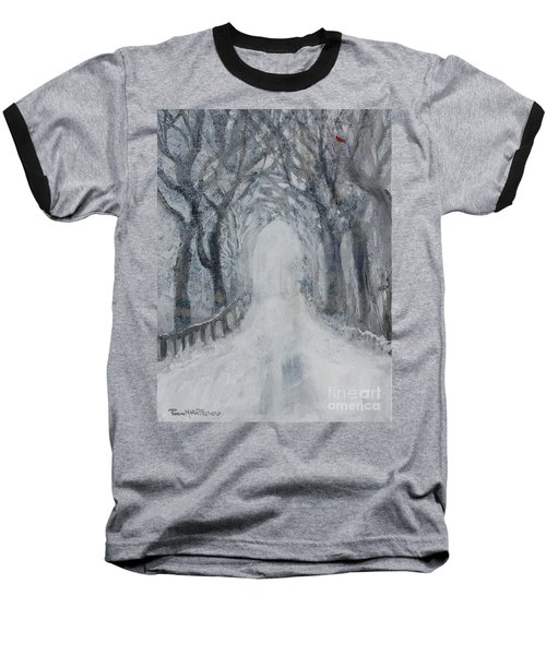 Baseball T-Shirt featuring the painting Winter Tree Tunnel by Robin Maria Pedrero
