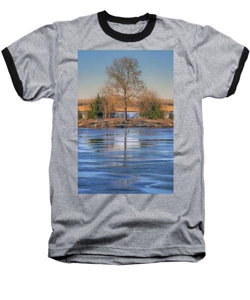 Baseball T-Shirt featuring the photograph Winter Tree - Walnut Creek Lake by Nikolyn McDonald