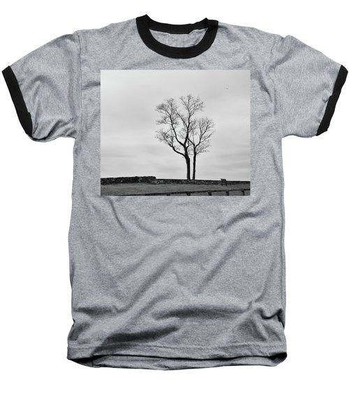 Baseball T-Shirt featuring the photograph Winter Trees And Fences by Nancy De Flon