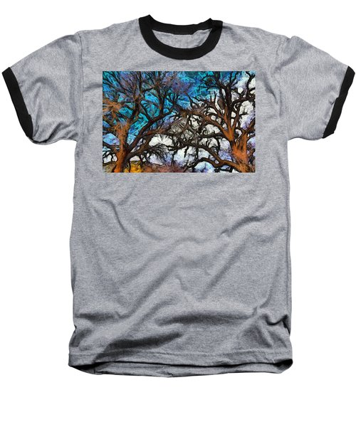 Baseball T-Shirt featuring the photograph Winter Trees At Fort Tejon Lebec California Abstract by Floyd Snyder