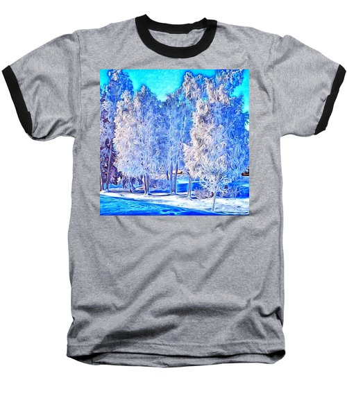Baseball T-Shirt featuring the digital art Winter Trees by Ron Bissett