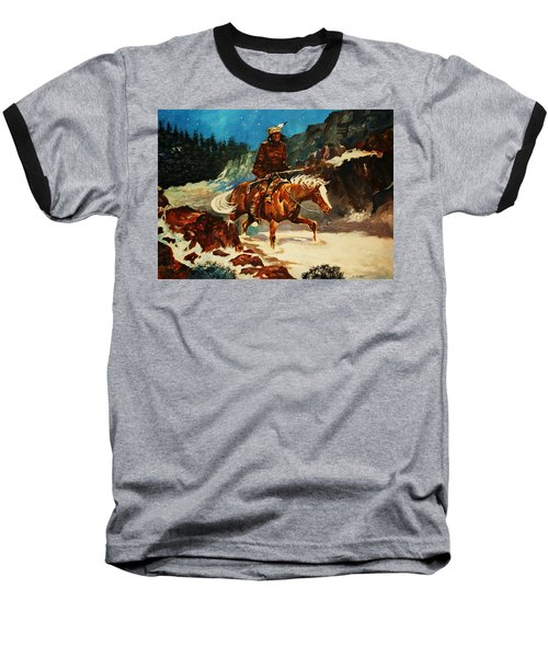 Baseball T-Shirt featuring the painting Winter Trek by Al Brown