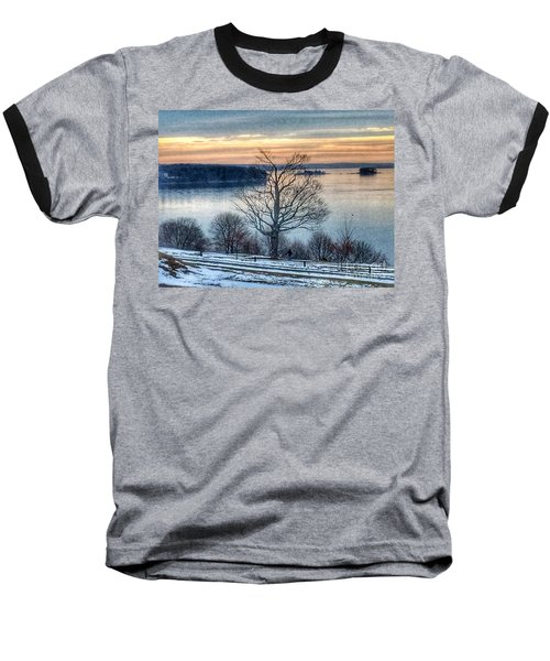 Winter Twilight At Fort Allen Park Baseball T-Shirt by Patricia E Sundik