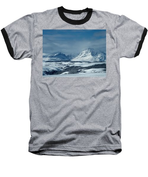 Winter View Of Rising Wolf Mountain Baseball T-Shirt