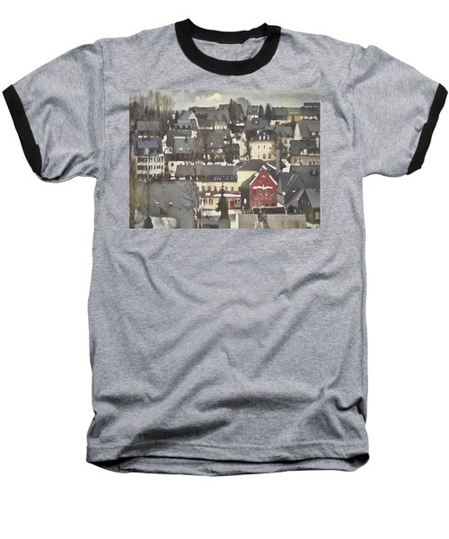 Winter Village With Red House Baseball T-Shirt