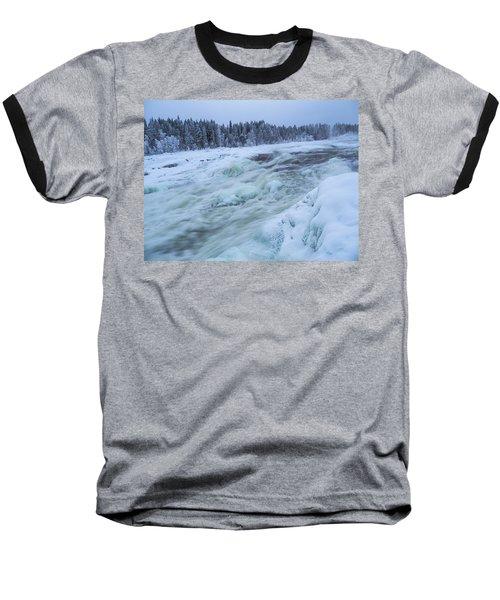 Winter Waterfall Baseball T-Shirt by Tamara Sushko