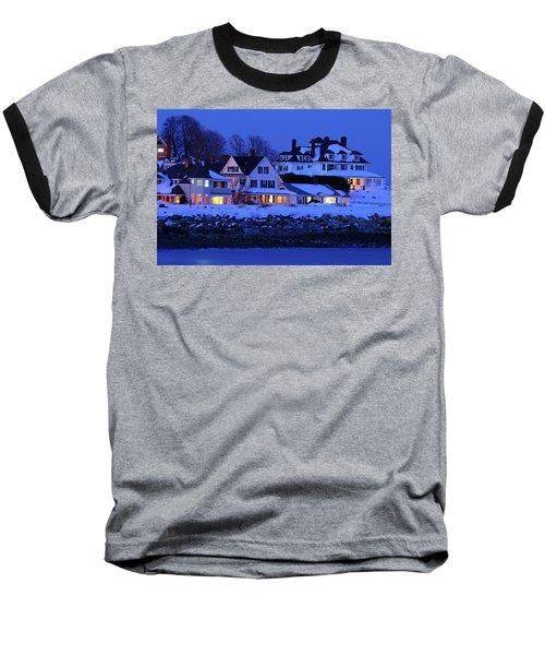 Winter Waterfront Baseball T-Shirt by James Kirkikis