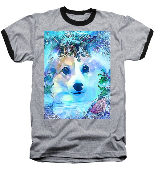 Baseball T-Shirt featuring the digital art Winter Welsh Corgi by Kathy Kelly