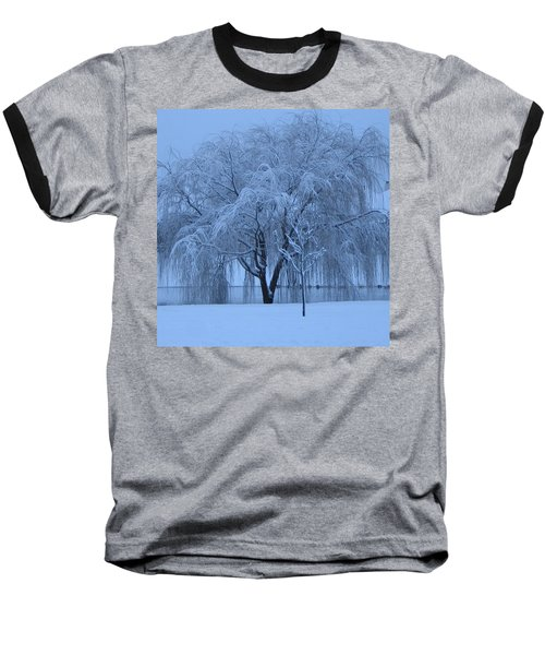 Winter Willow Tree Before Dawn_fort Worth_tx Baseball T-Shirt by Barbara Yearty
