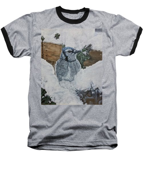 Baseball T-Shirt featuring the painting Winters Greeting by Wendy Shoults
