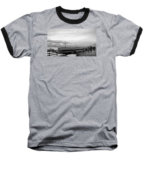 Baseball T-Shirt featuring the photograph Winter's Icy Grip On Lighthouse Ann Arbor Park by Mark J Seefeldt